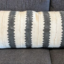 "**ITEM NOW SOLD** 'Fragments' Identity oblong zig zag black and white pillow. with down fill. 38"" x 16.25"". Original List: 325.- Modele's Price: 150.-"