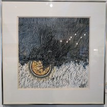 """**ITEM NOW SOLD**Framed Thai woodwork print. 'Rain' by Supote, Bangkok. c. 1964. #23/38. 22.25"""" x 22.25"""". 195.-"""