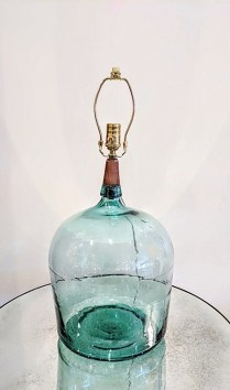**ITEM NOW SOLD**Hollyhock green glass lamp base. Three way bulb switch. Original List: $2400.- Modele's Price: 795.-