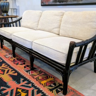 **ITEM NOW SOLD** McGuire 3 seat sofa. Exact age unknown, Professionally refinished with dark stain. Chenille upholstery. 950.-