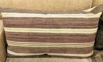 "**ITEM NOW SOLD** Rectangular brown/cream stripe kilim pillow. Fiberfill. 36.5"" x 21"". 125.-"