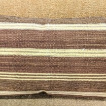 "**ITEM NOW SOLD** Rectangular brown/cream stripe kilim pillow. Fiberfill. 36.5"" x 21"". 125.-"