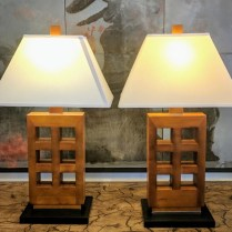 **ITEM NOW SOLD**Pair Table Lamps. Purchased at Gump's 5-10 years ago. Three way switch. Stained finish.350.- /pair
