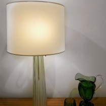 **ITEM NOW SOLD** Baker green glass table lamp by Barbara Barry. Purchased in LA from the Baker showroom 4 years ago. 2- 60 watt bulbs max; each on pull chain. Original List $1200.- Modele's price: 595.-