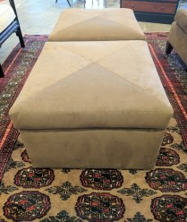 **ITEM NOW SOLD** Custom ottoman. Custom designed and built by Walenta's (to the trade upholsterer) . Microfiber cover. On casters. Two available. 295.- each