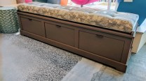 **ITEM NOW SOLD** Custom designed/built storage bench with custom cushion. Never used. 3 deep drawers with full extension glides. 650.-