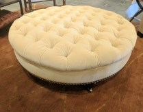 **ITEM NOW SOLD** Custom ottoman. Donghia mohair. Approx 15 years old. Very light use. Original price: $3000. +. Modele's Price: 595.-