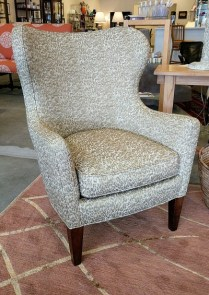 **ITEM NOW SOLD**Lee Industries modern wing chair. Showroom sample purchased from Greenbaum's 2 years ago. Fabric is 'Vibi-latte'. 375.-
