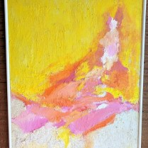 "**ITEM NOW SOLD** Original painting, mixed medium. Purchased in Miami c. 1970's. Artist unknown (from family estate). 35.5""w x 41.5""h 595.-"