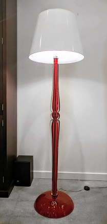 **ITEM NOW SOLD**Otium 'Balustra' Floor Lamp. Purchased 7 years ago at the Trammel Gagne showroom. Clear sangue Venetian crystal. Two bulb sockets with floor switch. Original List: $2830.- Modele's Price: 1250.-