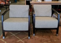 **ITEM NOW SOLD**Pair Stua 'Malena' lounge chairs. Purchased 12 years ago from Design Within Reach in Chicago. Solid walnut frames, removable cushions. Aluminum legs with casters at front. Original List: $1300.-$1500. Modele's Price: 1395.-/pair