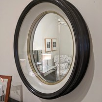 "**ITEM NOW SOLD** Baker oval mirror designed by Barabara Barry. Discontinued style. 20""w x 4.25""d x 24.5""h. Original List: $1700.- Modele's Price: 695.-"