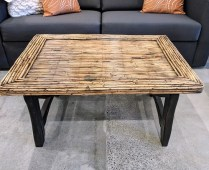 "**ITEM NOW SOLD** Bamboo top coffee table. Hand hewn base in dark finish. 36"" x 26.75"" x 18""h. Original List: $1335.- Modele's Price: 350.-"