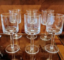 "**ITEM NOW SOLD** Set/6 Calvin Klein 8 inch 'Bergen' water glasses. Discontinued style. 8""h. 50.-/set"