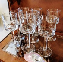 "**ITEM NOW SOLD** Set/8 Calvin Klein Bergen water glasses. Discontinued style. 7.25"" h. 95./set"