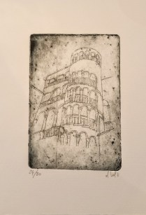 """Etching of Venice by Venetian artist. Alessandra D'Agnolo. 12"""" x 6.5"""" 31.50"""