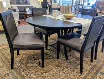 "Redford House dining set. Oval ""Quincy"" table plus six ""Oliver"" side chairs. Two years old. Original List: $7,516. Modele's Price: 2750.- set"