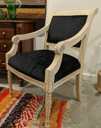 **ITEM NOW SOLD** Pair chairs with carved wood frames and new upholstery. 695.- Pair.