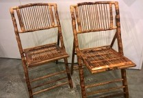 **ITEM NOW SOLD** Pair Ballard Designs bamboo folding dining chairs. Comfortable and good looking! Orig. List: $100. each. Modele's Price: 100.- per pair