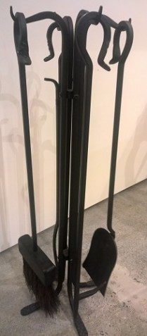"**ITEM NOW SOLD** Fireplace tool set; black iron. Includes 4 tools. Five years old, 28""h. Orig. List: $500. Modele's Price: 250.-"