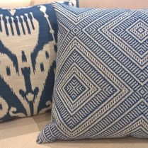 "**ITEM NOW SOLD** Pair custom made reversible pillows with down/feather fill and invisible zipper closure. Made by Village Interiors in Seattle, 20.5"" x 23"". Orig. List: $400. each. Modele's Price: 295.- pr."