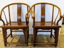 "Pair antique Chinese Horseshoe chairs. 26.75""w x 22.5""d x 40.5""h. Orig. List: $2,880. Modele's Price: 1500.- pr."