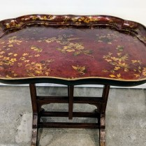 """**ITEM NOW SOLD** Antique lacquered tray table. Purchased from David Weatherford Antiques in 2003. 31.5""""w x 23.75""""d x 25""""h Orig. Price: $3,500. Modele's Price: 595.-"""