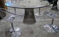 "Warren Platner dining table for Knoll, purchased in 2004, 53""d. x 27""h Current List: $4,069. Modele's Price: 1950.-"