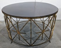 "**ITEM NOW SOLD** Neiman Marcus cocktail table, approx. 10 years old, discontinued style. 32.5"" d. x 21""h. Orig. List: 900. Modele's Price: 495.-"