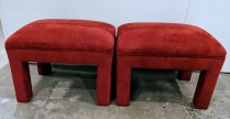 "**ITEM NOW SOLD** Pair custom benches in durable and energetic red microfiber. Approx. 20 years old, newer upholstery. 25""w x 18""d x 19""h. Use at entry, foot of bed, extra dining seating. 250.- pair"