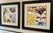 """**ITEM NOW SOLD** Pair decorative framed prints, purchased from Picture Source less than two years ago. 26.25""""w x 26.5""""h. Orig List: $550. pr. Modele's Price: 275. pair"""