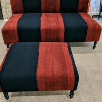 **ITEM NOW SOLD** Custom settee and ottoman by Charles Jacobsen. 8 years old, but never used. Pair red custom pillows included. Orig. $7,750. Designer net. Modele's Price: 2750. - set