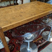 "**ITEM NOW SOLD** Vintage dining table with two leaves, c.1980's. Oak frame with beautiful book matched burlwood top. 66""l x 38""w x 29""h. Two leaves @16""each = Max. 98"" long. 595.-"