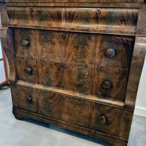 "**ITEM NOW SOLD** Antique dresser., purchased from Veritables in Bellevue 2 years ago. Drawers glide beautifully. Gorgeous veneer. 42.75""w x 22.5""d x 43.25""h. Orig. List: $2,400. Modele's Price: 850.-"