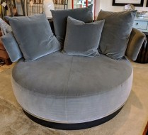 """**ITEM NOW SOLD** B&B Italia 'Ottoman Sofa'. Swivel base, with four throw pillows. A cozy lounging piece! 66"""" dia. x 42""""h. Orig. List: over $6,000. Modele's Price: 1950.-"""