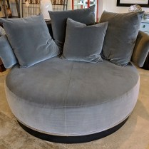 "**ITEM NOW SOLD** B&B Italia 'Ottoman Sofa'. Swivel base, with four throw pillows. A cozy lounging piece! 66"" dia. x 42""h. Orig. List: over $6,000. Modele's Price: 1950.-"