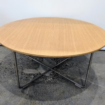"**ITEM NOW SOLD** Cappellini coffee table; white oak top on stainless steel base. Never used. 29.5"" dia. x 14""h Modele's Price: 295.-"