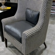 "**ITEM NOW SOLD** Kerry Joyce 'Mondrian' chair. Less than six months old. Holland & Sherry linen with Holly Hunt leather trim. 29""w x 31""d x 45.75""h. Orig. List: $7,200. Modele's Price: 2195.-"