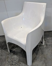 "**ITEM NOW SOLD** Driade (Italian) Kiss Me Goodbye chair in white. Disontinued style. Only one. Never used. 22.75""w x 23.75""d x 33""h Origninal List: $519. ea. Modele's Price: 250.-"