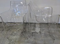 "**ITEM NOW SOLD** Pair Driade Kiss Me Goodbye chairs in clear. Discontinued style. Never used. Two pairs available. 22.75""w x 23.75""d x 33""h. Original List: $1038. pair Modele's Price: 495. pair"