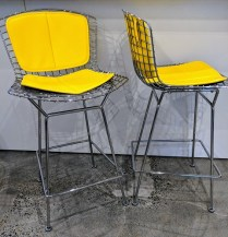 "**ITEM NOW SOLD** Pair Knoll Bertoia counter stools with seat and back pads. Less than 3 years old. Seat height: 27.5"" Current List: over $3,000. for the pair. Modele's Price: 1500.- pr."
