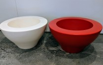"**ITEMS NOW SOLD** Serralunga low, small Ming pot. Available in red, (white has sold). Never used. 22""d. x 12.25""h. Current List: 252.99 each Modele's Price: 95. each BUY TWO , GET ONE FREE (equal or lesser value)"