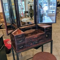 "**ITEM NOW SOLD** Vintage Japanese-deco dressing table. Lacquered finish, tri-fold mirror, on custom stand with customized stool. This Japanese vanity was originally purchased from Honeychurch Antiques 28.25""w x 12.5""d x 63.75""h. Orig. List: $1,950. plus cost of stool. Modele's Price: 850.- set"