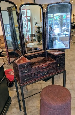 """Vintage Japanese-deco dressing table. Lacquered finish, tri-fold mirror, on custom stand with customized stool. This Japanese vanity was originally purchased from Honeychurch Antiques 28.25""""w x 12.5""""d x 63.75""""h. Orig. List: $1,950. plus cost of stool. Modele's Price: 1150.- set"""