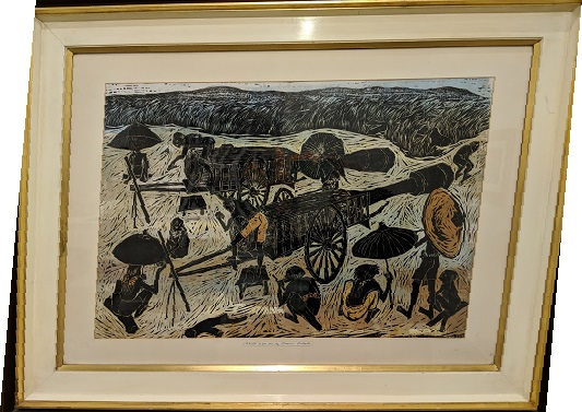 "Vintage woodblock print by Prapan Srisouta (Thailand). First Print, dated 1/25/1962. 43.5""w x 33.5""h 1100.-"