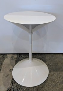 "**ITEM NOW SOLD** Zanotta small drink table. Approx. 5 years old, not used. 13.5"" dia. x 20""h Orig. List: $1,128. Modele's Price: 395.-"