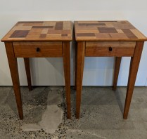 "Pair custom designed/built side tables by Greg Klassen, from Northwest Woodworking Gallery in 2012. Cherry and rosewood. 14.75"" sq. x 23""h. Orig. List: $2,350. Modele's Price: 1150.- pair"