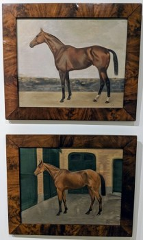 """Two horse oil paintings by T. Dickinson, 1926, English. Purchased at St. Martins Gallery in Jackson, MS. Burlwood frames. 23.75""""w x 19.75""""h. Orig. List: $2,736. pair Modele's Price: 375. each (top painting sold)"""