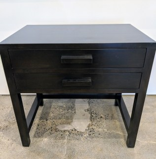 "Cisco nightstand, 2 years old. 2 drawers with full extension glides. 30""w x 20""d x 28.5""h. Black finish. Orig. List: $2,500. Modele's Price: 350.-"
