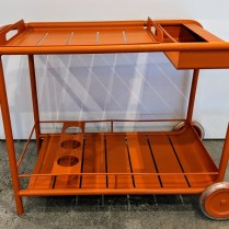 """**ITEM NOW SOLD** Fermob 'Luxembourg' outdoor bar cart. Lacquered aluminum, removable tray top. 39""""l x 19.25""""w x 29.25""""h. Current List: $1,089. Modele's Price: 450.-"""